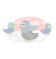 funny birds cartoon character doves for vector image