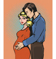 pop art of pregnant woman and vector image