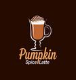 pumpkin spice latte logo design background vector image