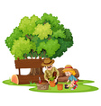 Girl and dad planting the tree vector image vector image