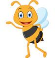 Little bee cartoon presenting vector image
