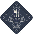 Menu for restaurant with flatware and curlicues vector image