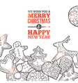 Christmas Card With Set Of Gingerbread vector image
