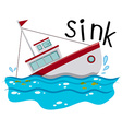 Fishing boat sinking down the ocean vector image