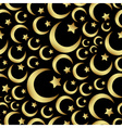 gold islam star and crescent religion seamless vector image