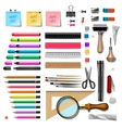 Set of office supplies on white background vector image
