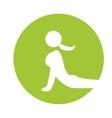 woman silhouette yoga pose green circle vector image
