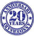 Grunge 20 years anniversary rubber stamp vector image vector image