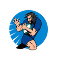 Rugby player running passing the ball vector image vector image
