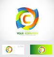 Letter C logo colors vector image