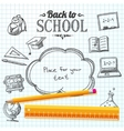 Back to school message on paper with speech bubble vector image