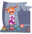 Crybaby The girl and toy rabbit vector image