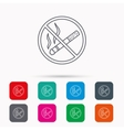 No smoking icon Stop smoke sign vector image