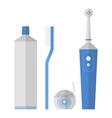 Oral hygiene Set of toothbrush dental floss vector image