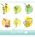 Set of alkohol drinks images in grunge style vector image vector image
