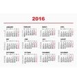 2016 Calendar template Horizontal weeks First vector image