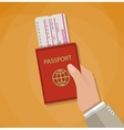 Boarding Pass and Passport in hand vector image