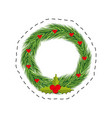 christmas wreath red berries leaves vector image