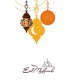 Eid Mubarak arabic muslim card design vector image