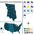 Map of Great Plains of the United States vector image
