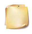 note papers with red pin on white background vector image