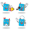 set of blue book character with shopping karaoke vector image