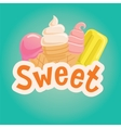 Sweet label with ice cream vector image