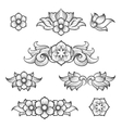 Vintage baroque engraving floral elements vector image