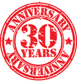 Grunge 30 years anniversary rubber stamp vector image