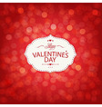 Red Valentines Day Card With Bokeh vector image