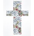 Cross with flowers vector image