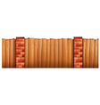 Wooden fence and brick poles vector image