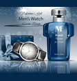 classic man watch and perfume 3d detailed vector image