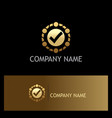round check mark gold business logo vector image