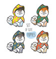 set of cute siberian husky puppies in colorful vector image