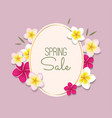spring sale with frame and flowers vector image
