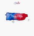 Travel around the world Puerto-Rico Watercolor map vector image