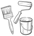 doodle paint can brush vector image vector image
