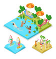 isometric outdoor activity water polo surfing vector image