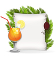 Cocktail with paper scroll and palm branches vector image