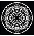 Mehndi Indian Henna floral tattoo white round pat vector image