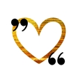 Gold heart quotation mark speech bubble vector image