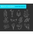 Beach holiday line icons vector image