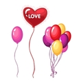 Bouquet of brightly colored balloons on holiday vector image