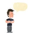 cartoon man refusing to listen with speech bubble vector image