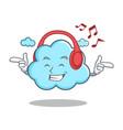listening music cute cloud character cartoon vector image