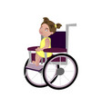 little blondy girl on a wheelchair vector image
