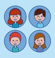 social media avatar community people cartoon vector image
