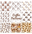 Coffee cups seamless patterns vector image