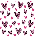 Seamless pattern with leopard hearts trendy vector image